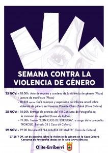 Cartel semana contra la violencia de genero
