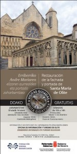 Cartel visitas fachada y portada de Santa María Olite