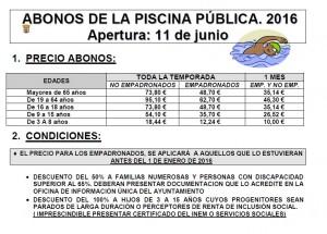 PRECIOS ABONOS 2016