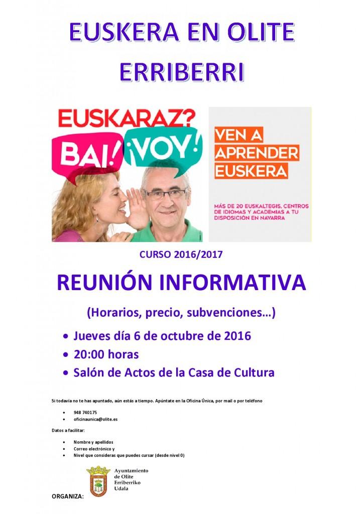 Cartel informativo Reunion Euskera