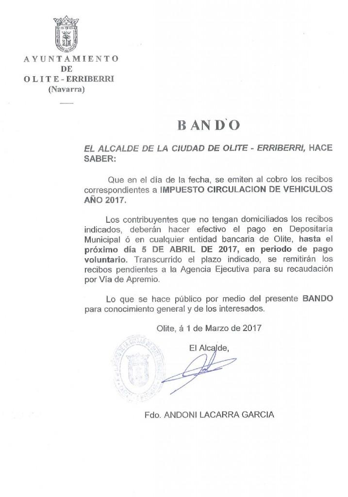Bando Impuesto Circulacion 2017
