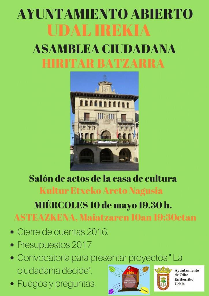 Cartel Ayuntamiento Abierto 10 de mayo