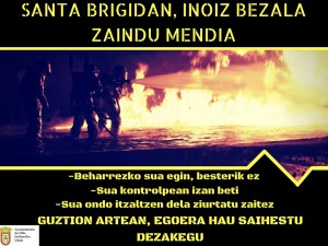 Cartel sobre el fuego SB (Euskera)