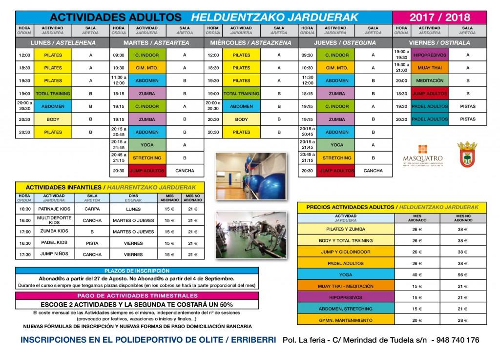 Actividades polideportivo 2017-2018