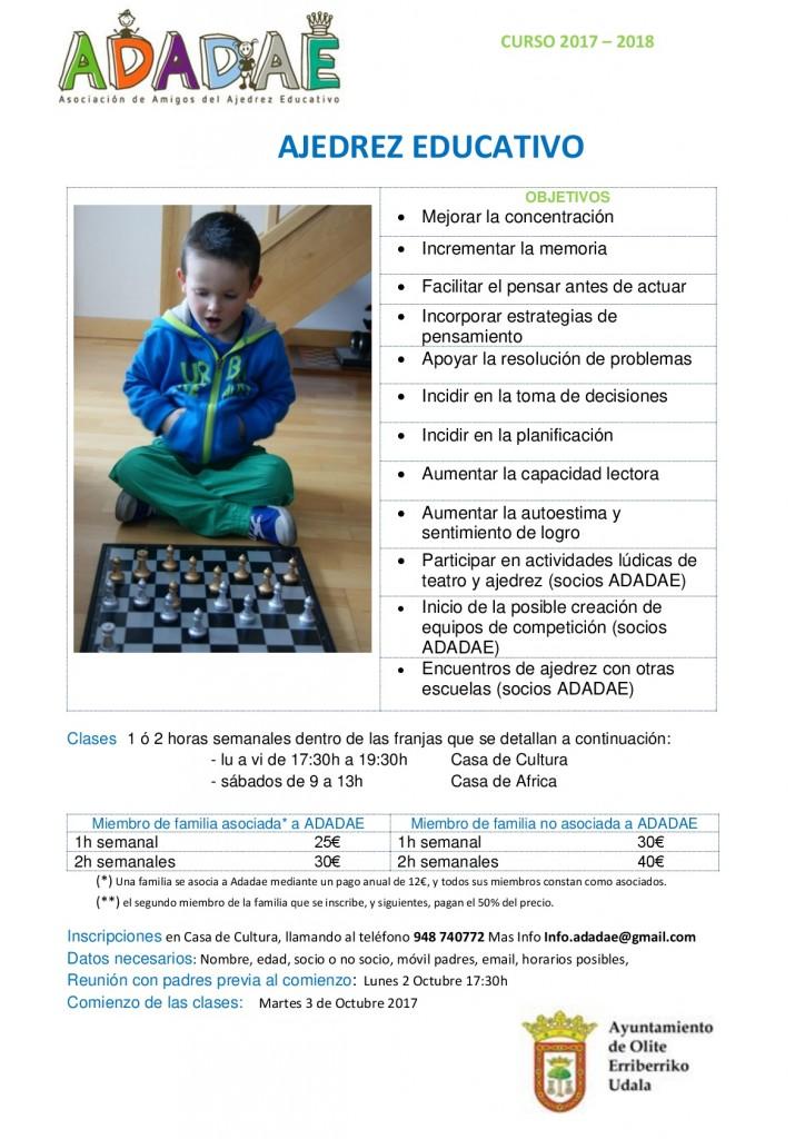 Cartel Ajedrez Educativo Casa de Cultura Olite 2017-2018-001