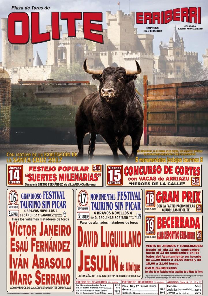 Cartel Feria Taurina Olite-Erriberri 2017