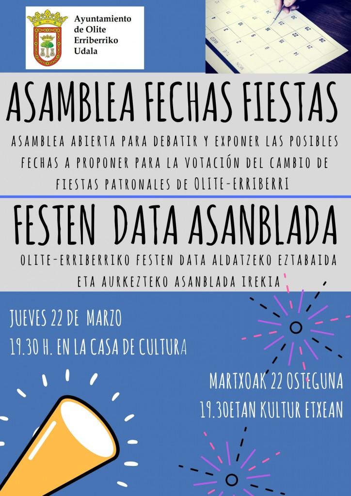 Asamblea General Fechas Fiestas-