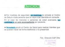 Medidas de seguridad del Centro de  Salud de Olite-Erriberri