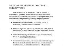 Medidas preventivas de la Mancomunidad de Servicios Sociales