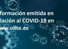 Información emitida en relación al COVID-19